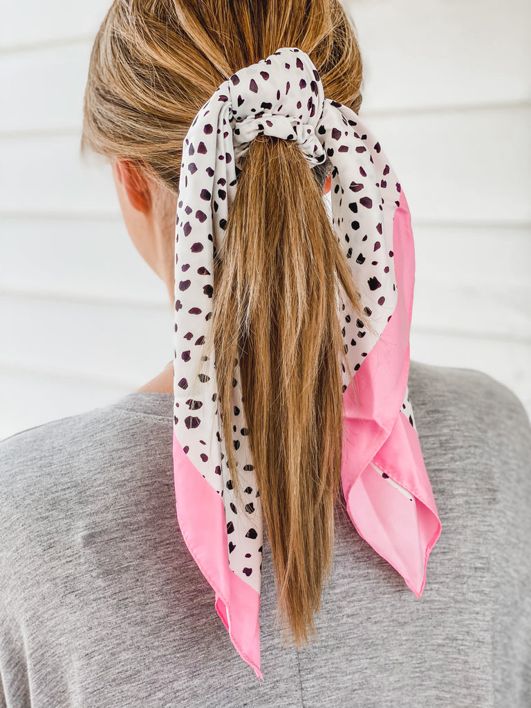 Polka Dot Silk Hair Tie Scarf