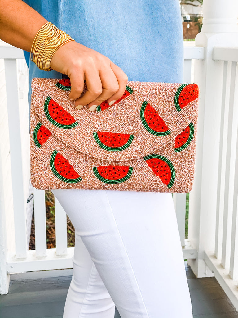 Beaded Clutch- Pink Watermelon