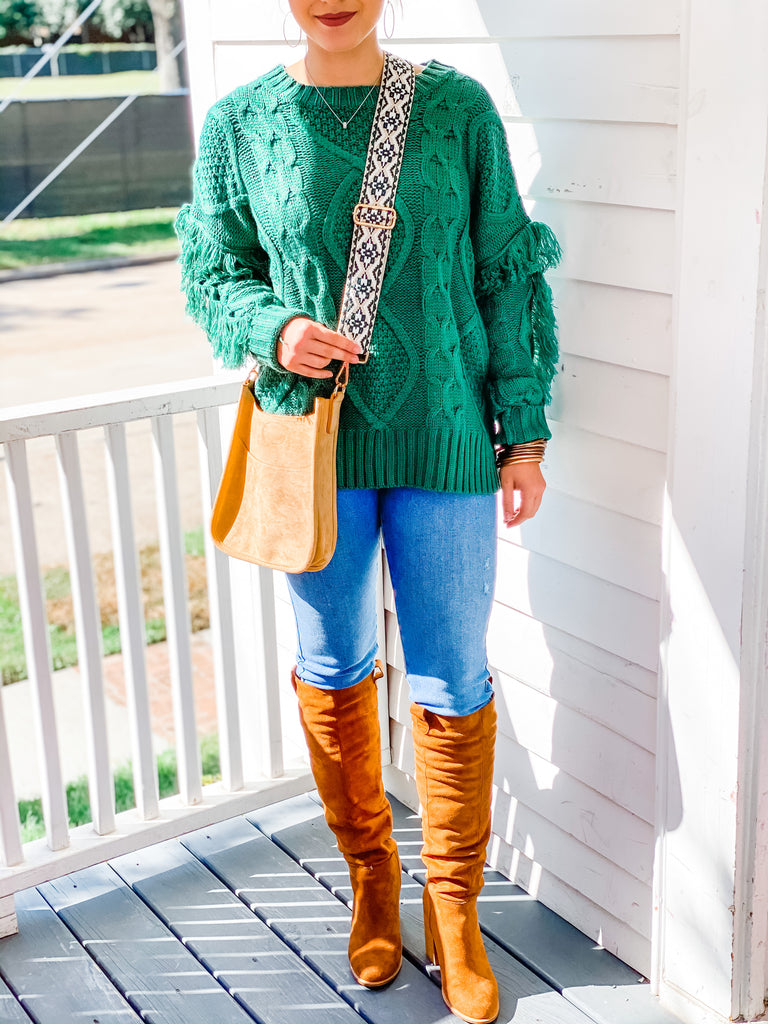 Off To Aspen Sweater- Green