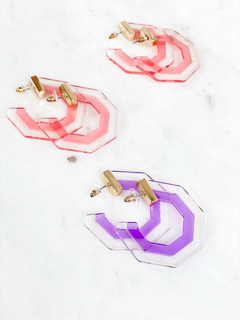 Hexagon Lucite Earrings
