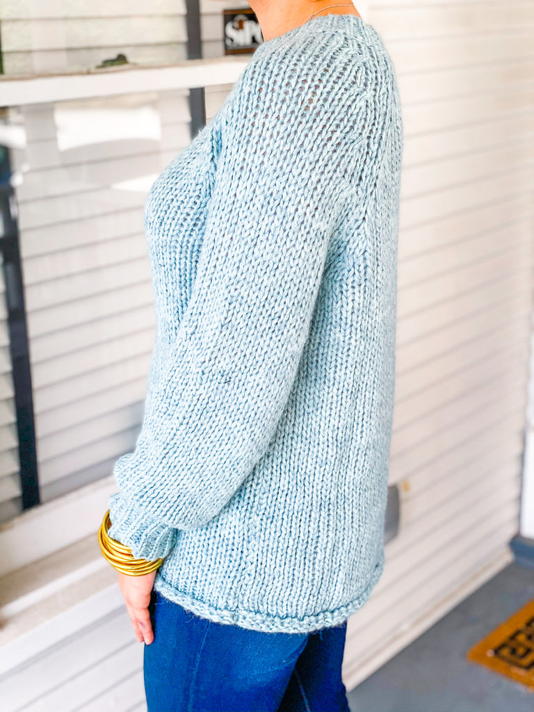 Snow Falling For You You Sweater - Seafoam