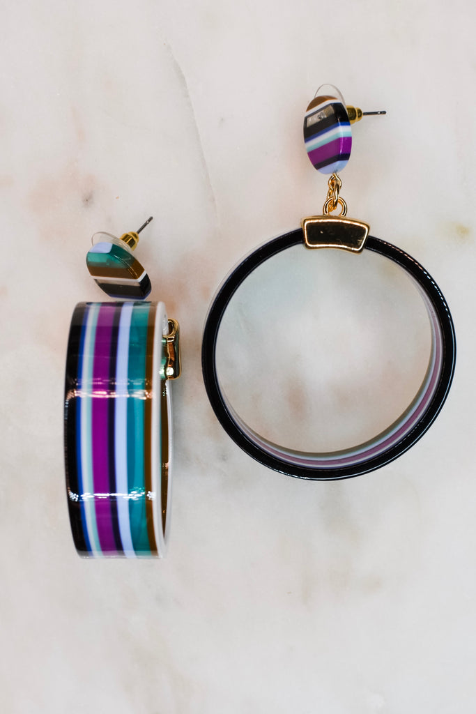 Round and Round Earrings- Stripe