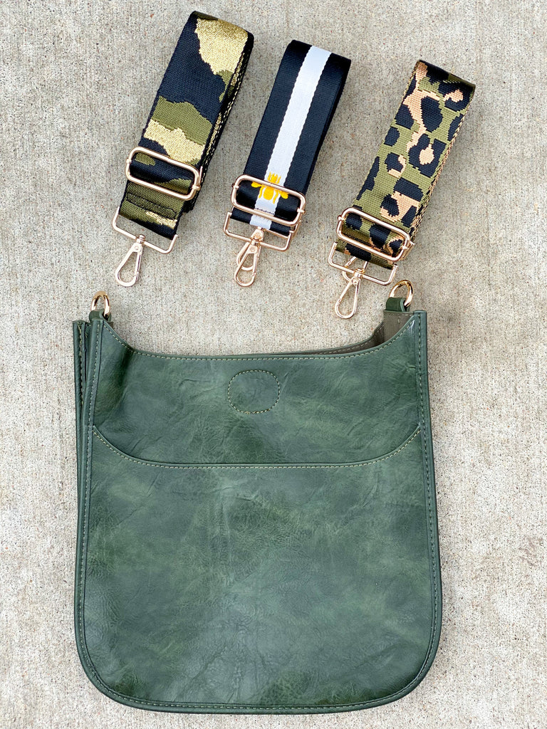 Dark Green Vegan Messenger- (STRAP NOT INCLUDED)***