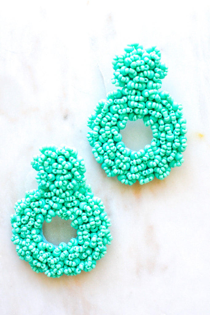 Keep It Coming Circle Earrings- Turquoise