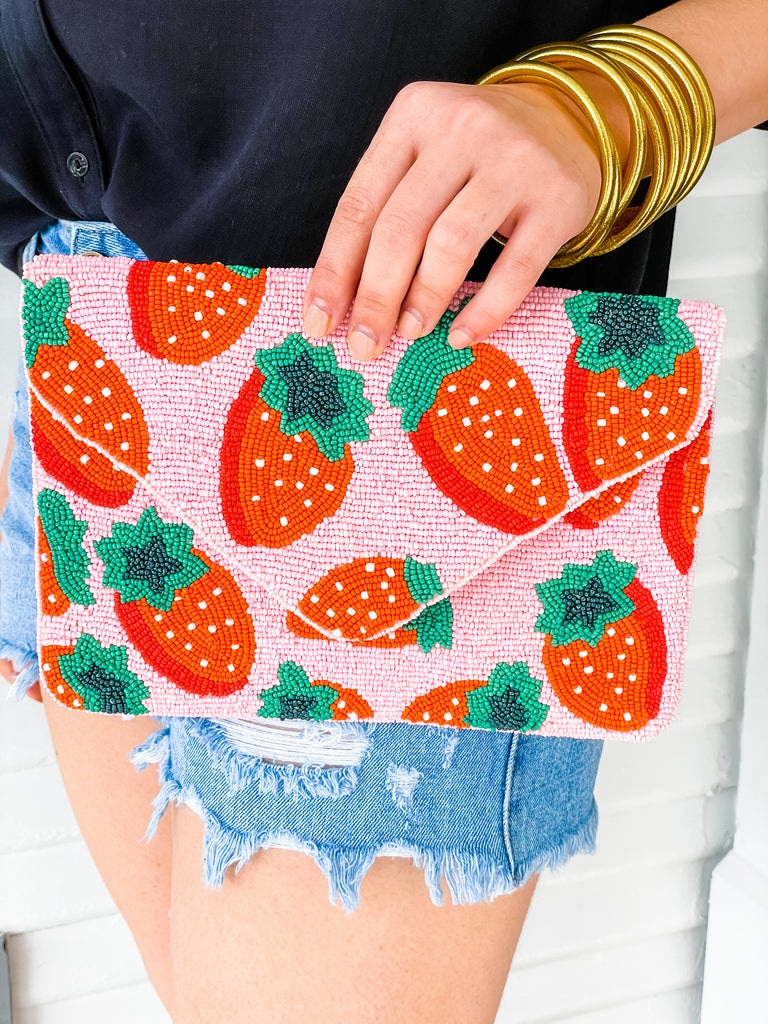Beaded Clutch- Strawberry