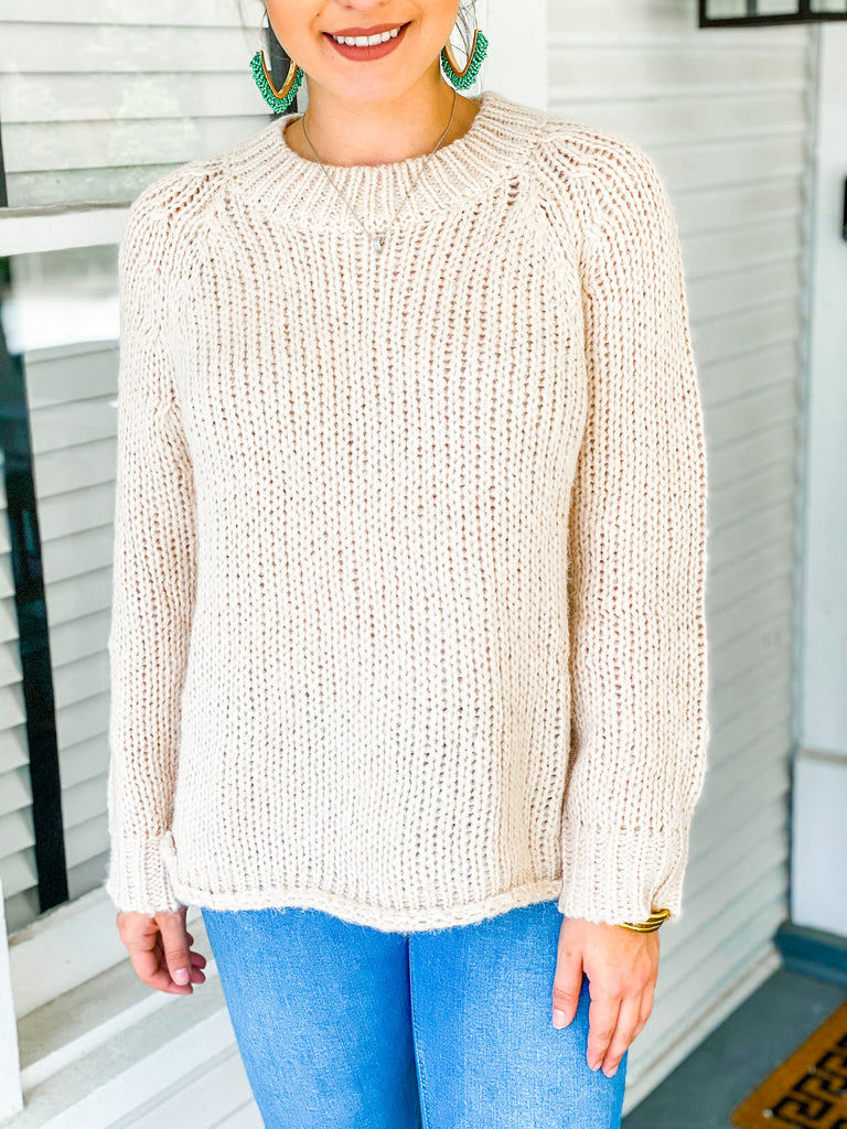 Snow Falling For You Sweater - Taupe