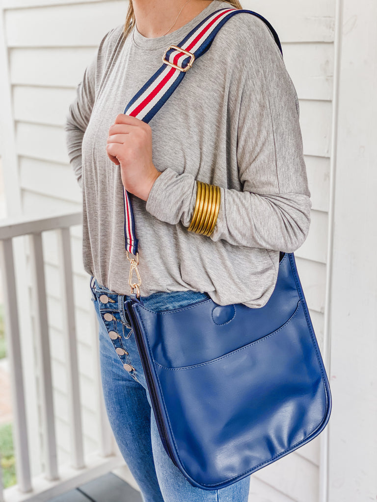 Soft Faux Leather Messenger Bag (Strap NOT included)- Gray and Navy***