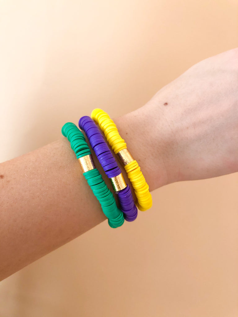 Clay Stretchy Bracelets- Green/Purple/Yellow - Pomp & Circumstance