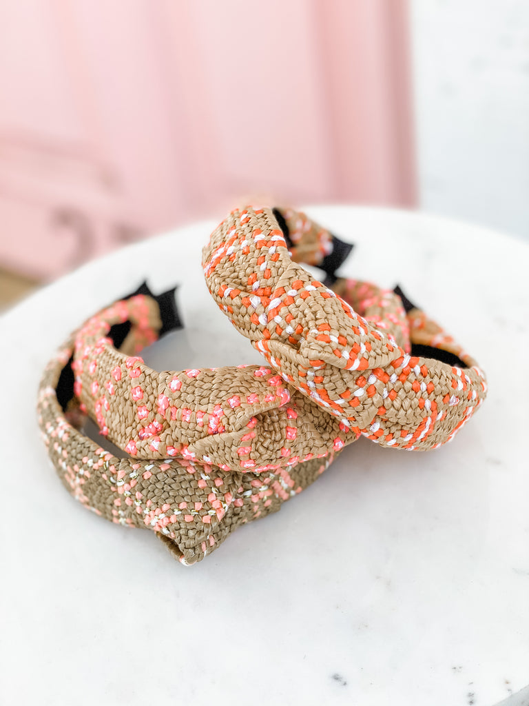 Raffia Knot Headbands- Coral, Hot Pink, and Pastel Pink