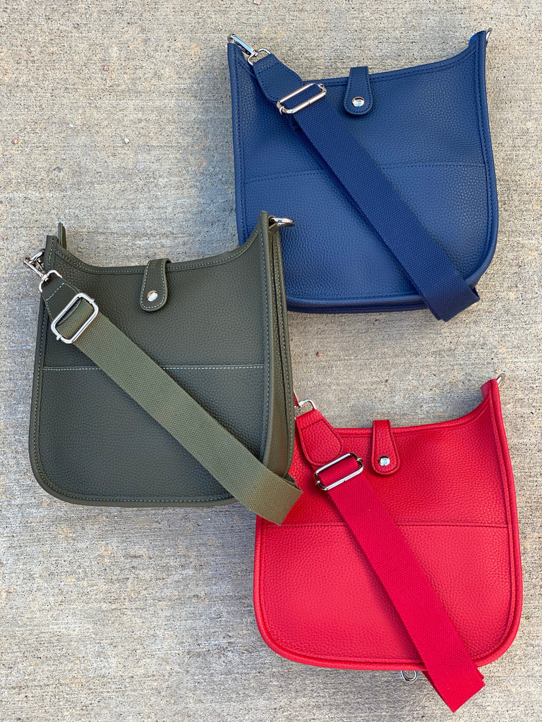 The Mini Essential Messenger- Olive, Navy, and Red***