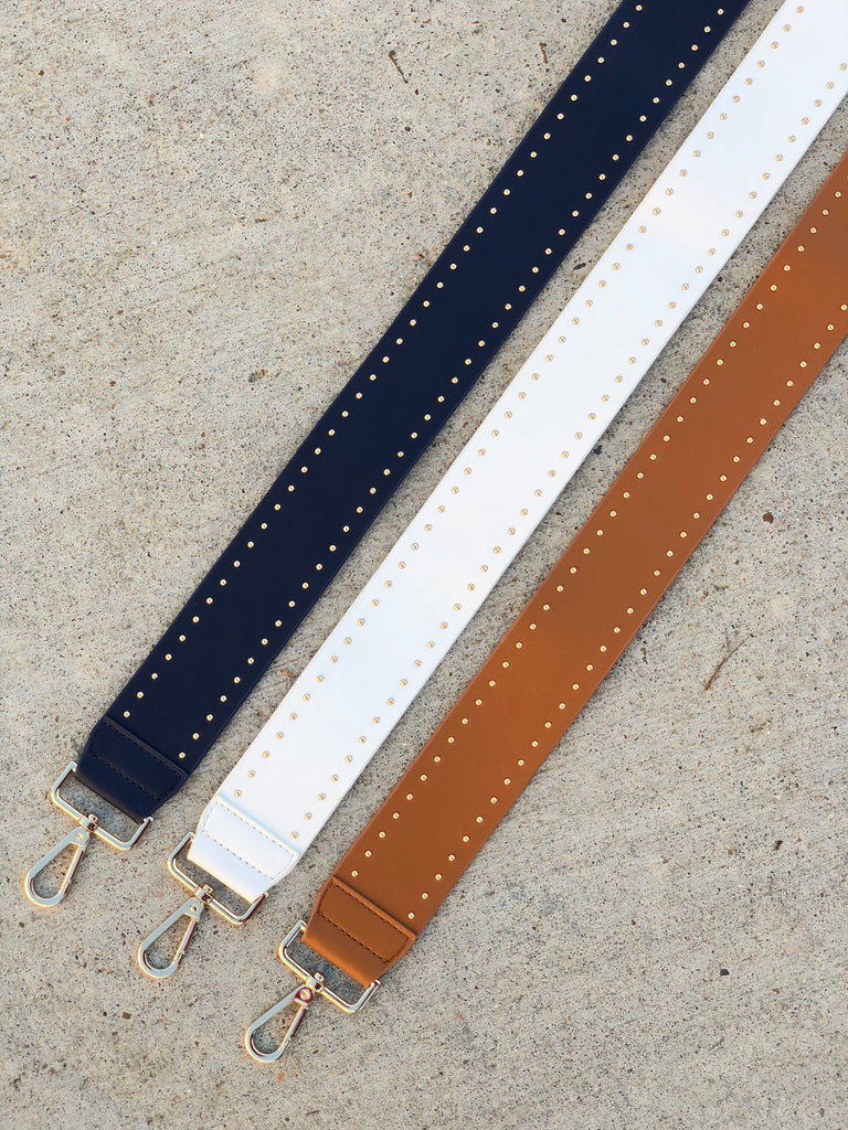 Studded Soft Faux Leather Handbag Straps- Navy, White, Camel***