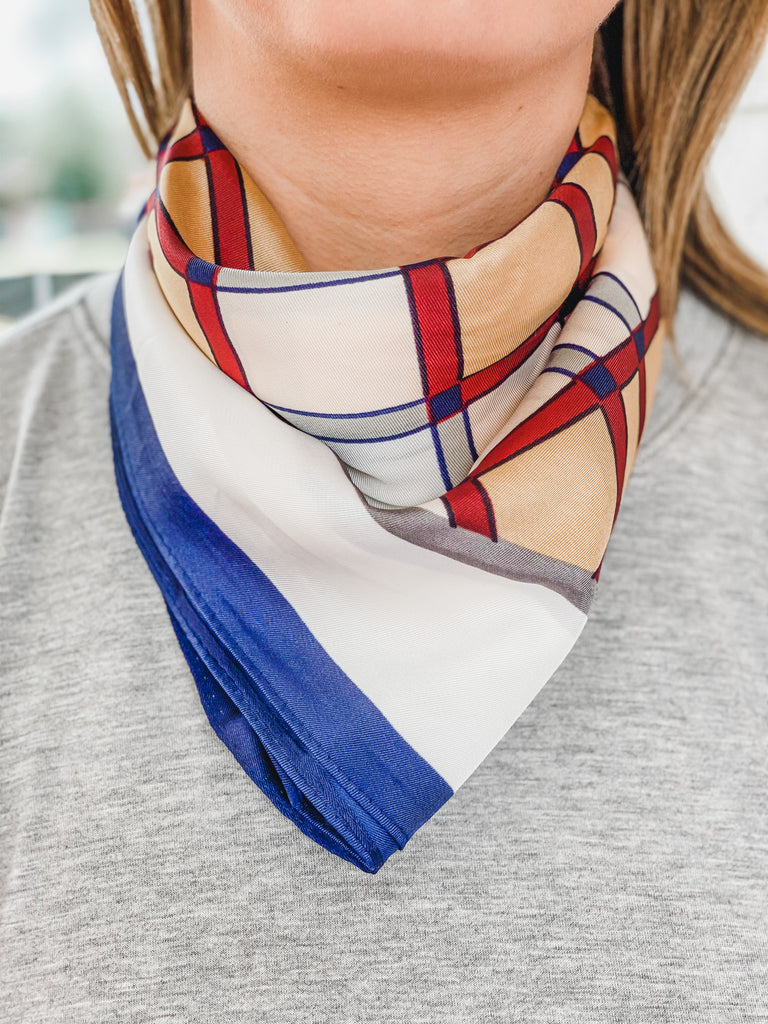 Check Print Square Scarf- Blue