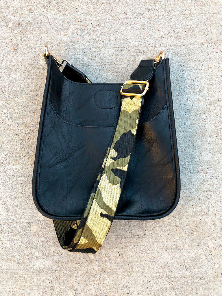 Mini Black Vegan Messenger with Camo Strap*** - Pomp & Circumstance