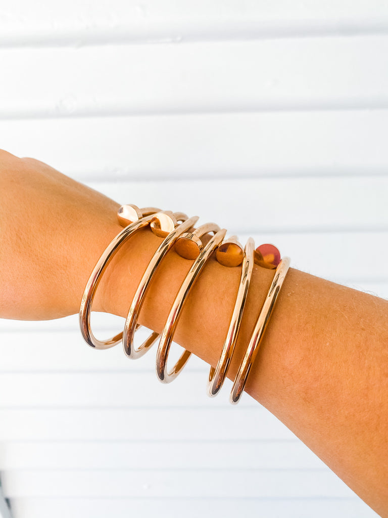 Screw Bangle- Rose Gold