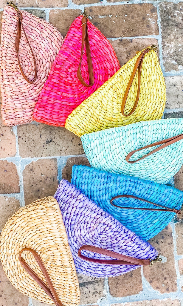 Fiesta Half Circle Straw Clutch