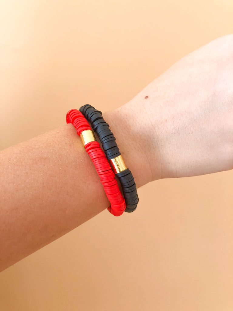 Clay Stretchy Bracelets- Red/Black - Pomp & Circumstance