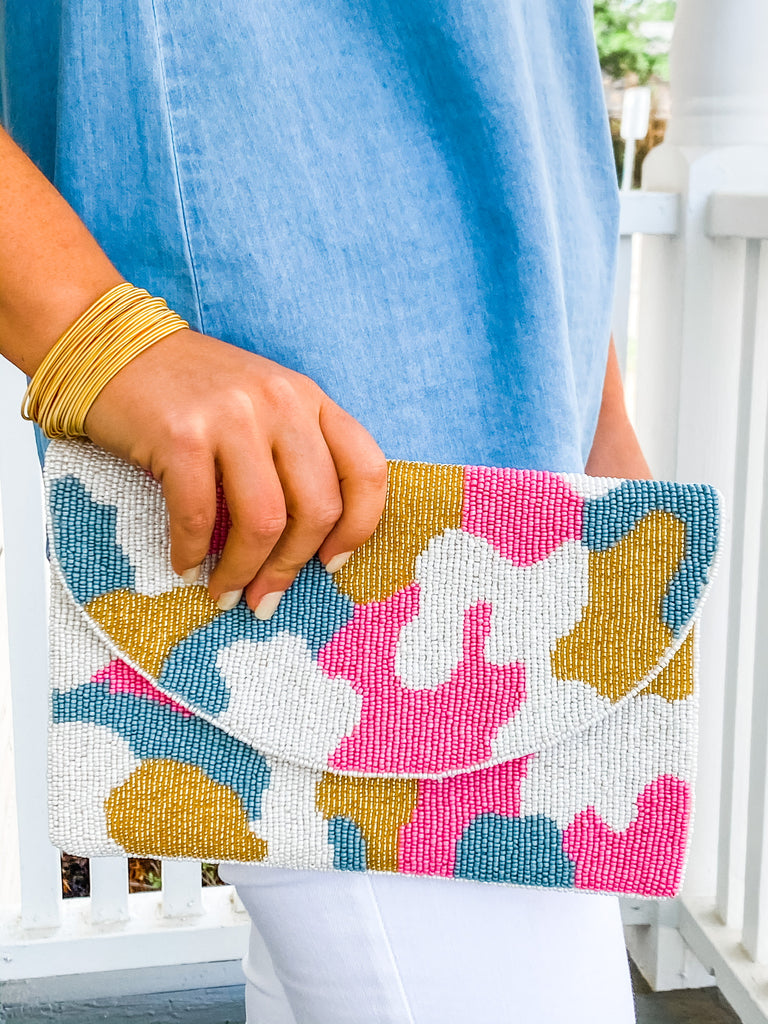 PREORDER: Beaded Clutch- Pink Camo