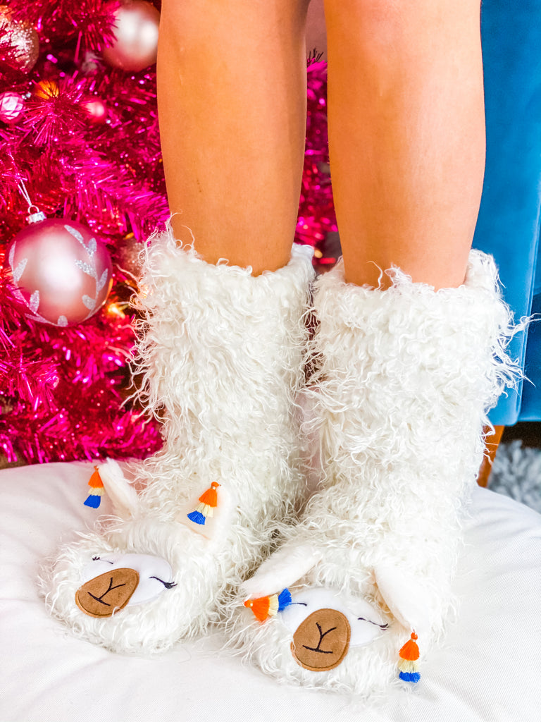 Llama Plush Sherpa Slippers - White***