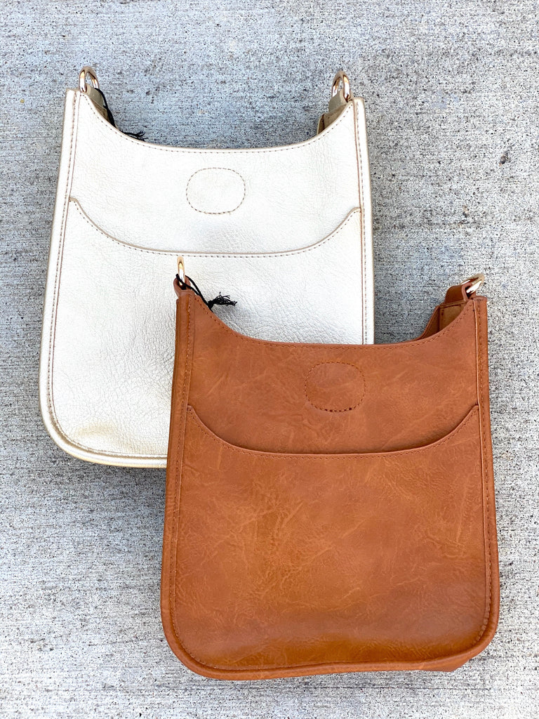 PRE ORDER: Mini Soft Faux Leather Messenger Bag (Strap NOT included)- Camel and Gold***