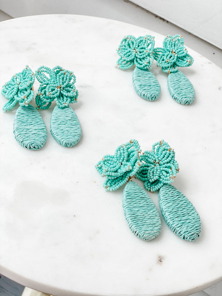 Mint Flower Drop Earrings