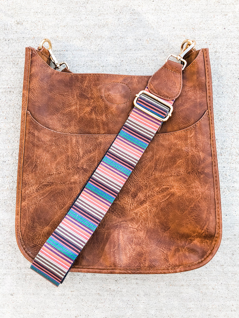Coffee Vegan Messenger with Stripe Strap***