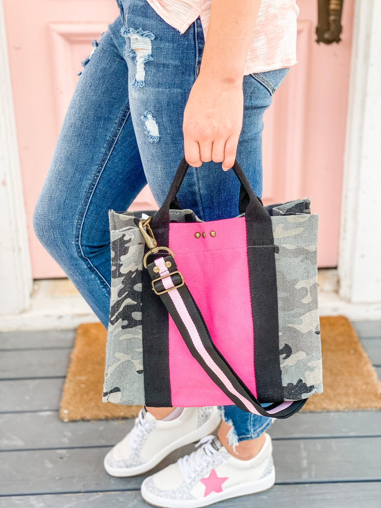 PS Canvas Bag Tote- Camo with Pink***