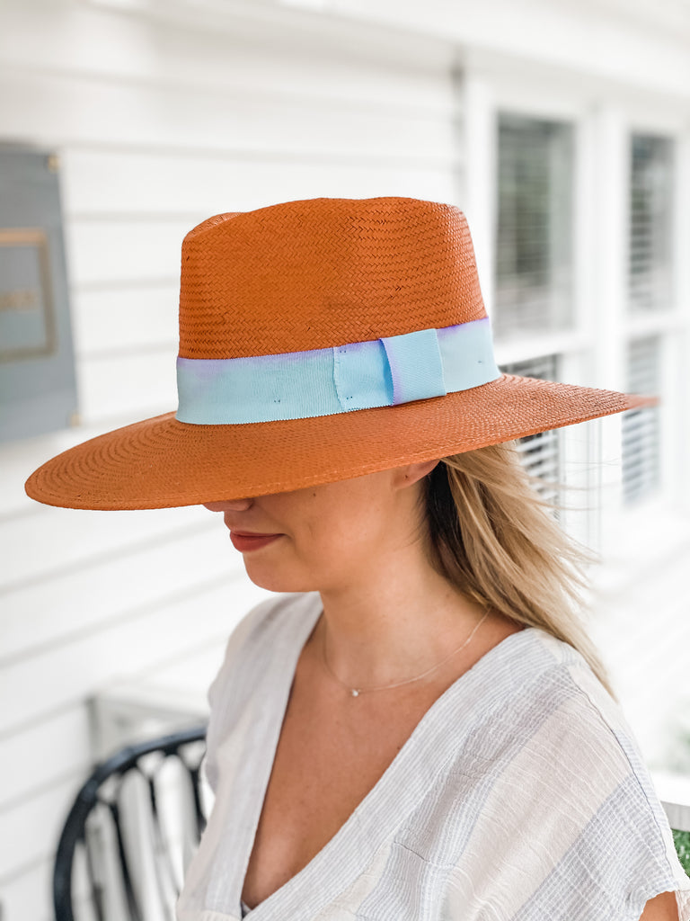 Teri Straw High Crown Terracotta Hat***