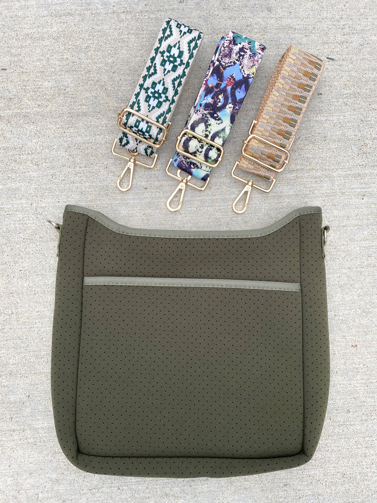 Zip Up Neoprene Messenger- Olive with Leopard Strap***