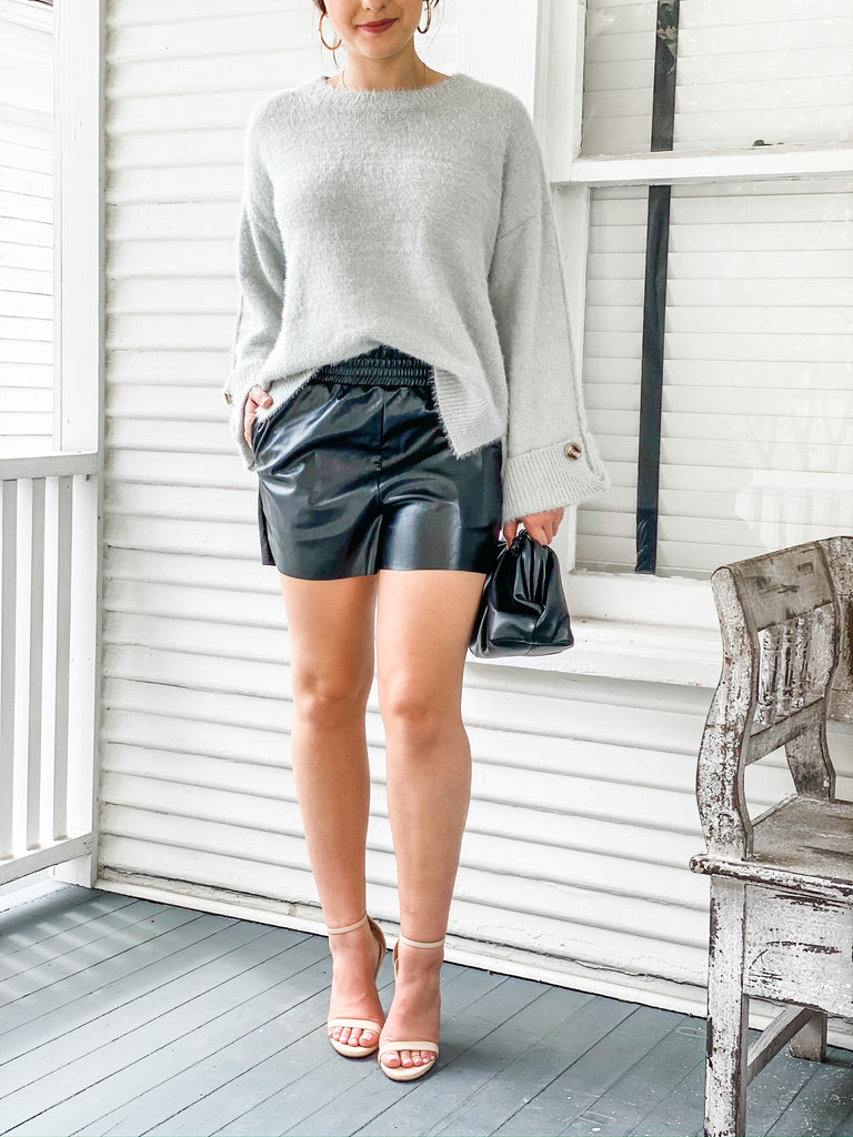 Paperbag Waist Faux Leather Shorts - Black