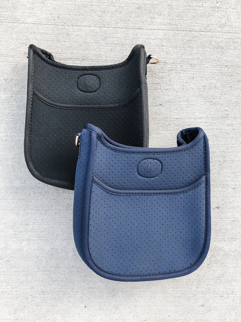 Mini Neoprene Messenger- Black/Navy*** - Pomp & Circumstance