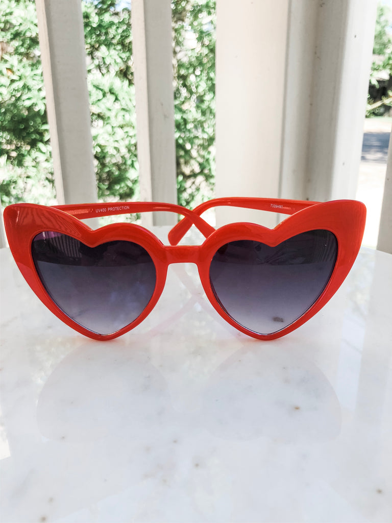 Heart Eyed Sunglasses- Red
