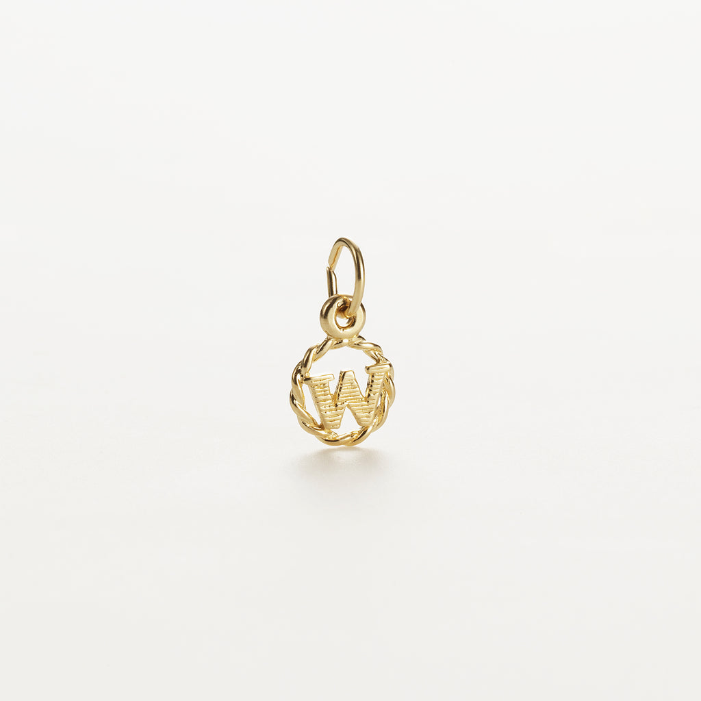 Letter W 9kt solid gold charm