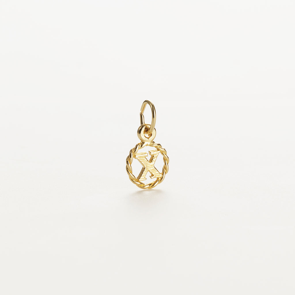 Letter X 9kt solid gold charm