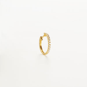 Solid Gold Talisman Diamond Hoop Earring