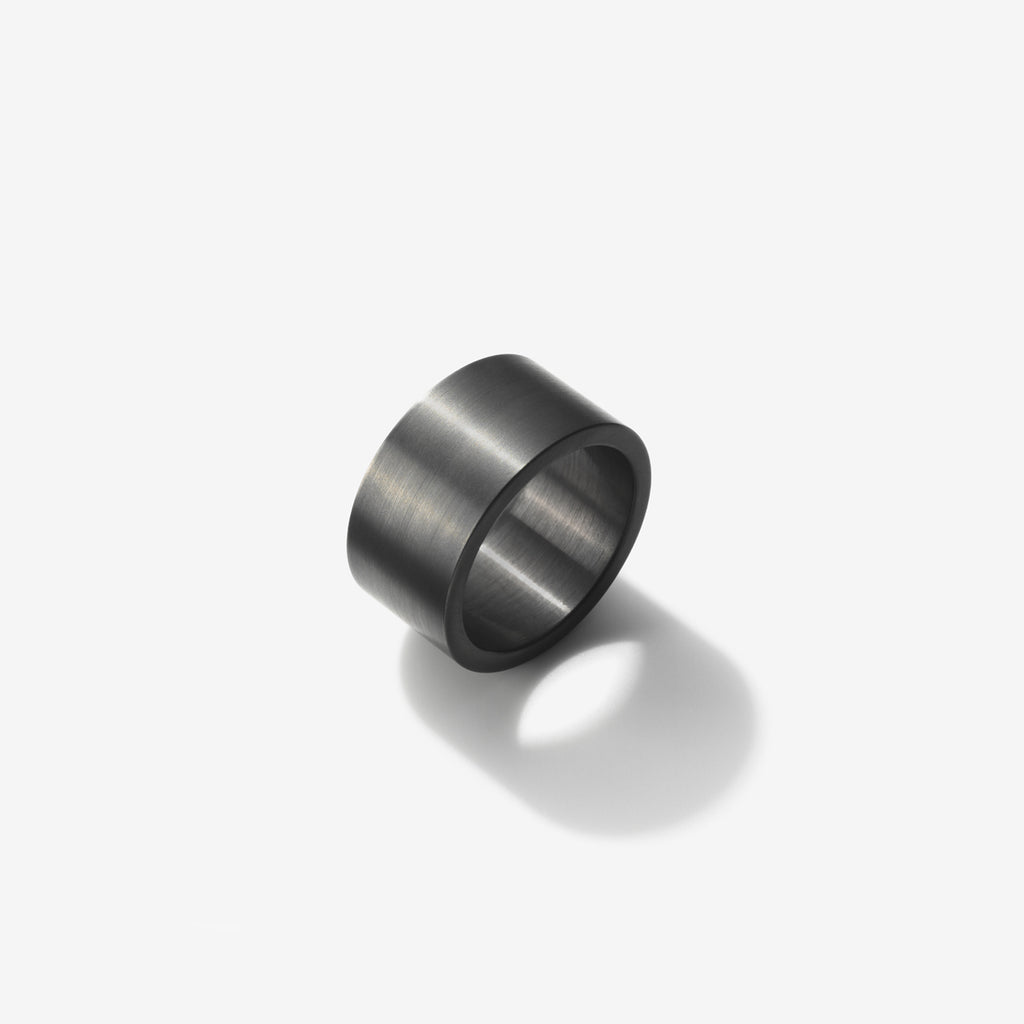 BRUSHED RUTHENIUM STERLING SILVER RING