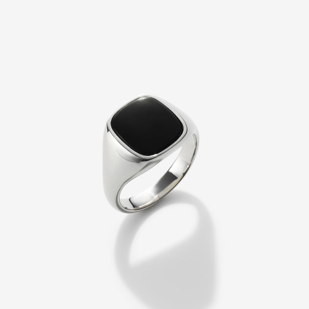 SILVER BLACK ONYX SIGNET RING
