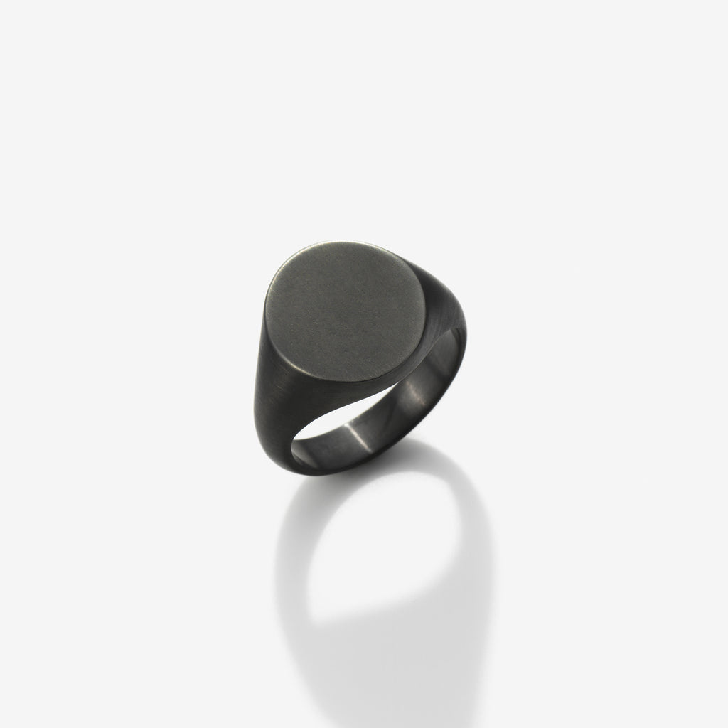 BRUSHED RUTHENIUM STERLING SILVER SIGNET RING