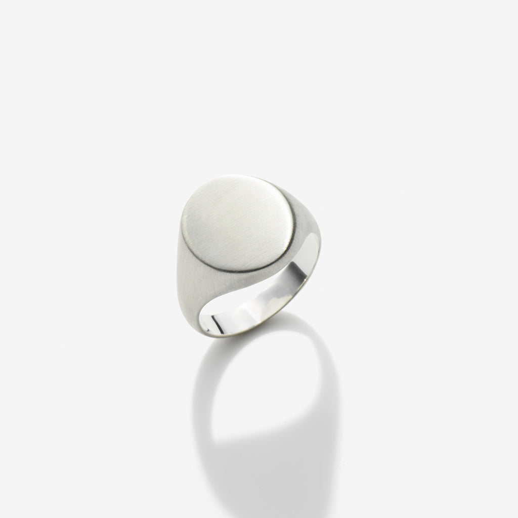 BRUSHED STERLING SILVER SIGNET RING