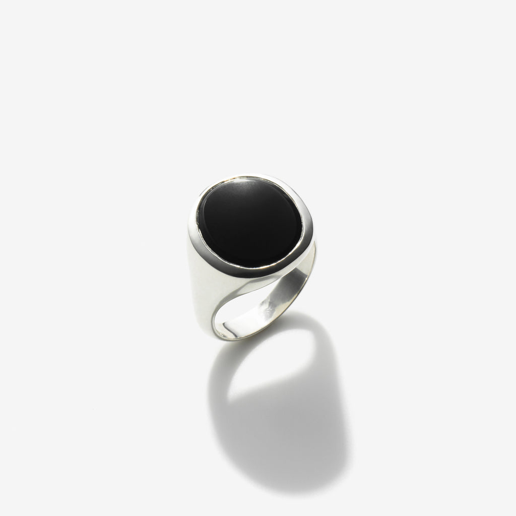POLISHED SILVER BLACK ONYX SIGNET RING