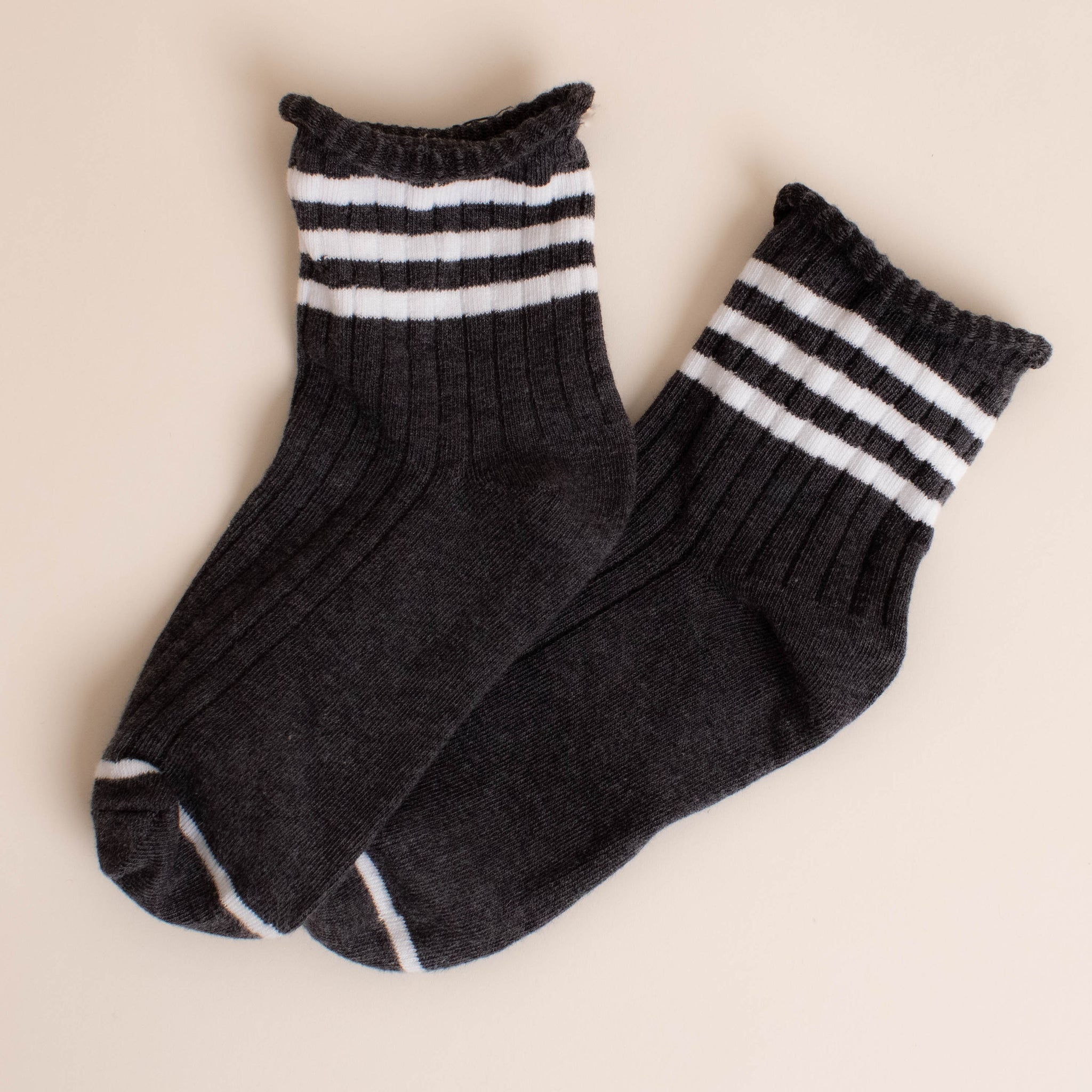 soft stripe roll top sock