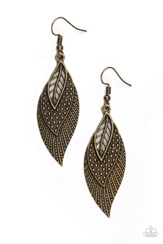 Wind Wanderer Brass Paparazzi Earrings