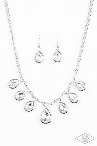 Love At FIERCE Sight White Rhinestone Necklace - Paparazzi Accessories Necklace set - Paparazzi Accessories