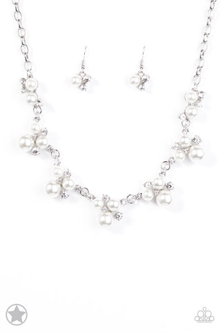 Toast To Perfection White Rhinestone Blockbuster Necklace - Paparazzi Accessories Necklace set - Paparazzi Accessories
