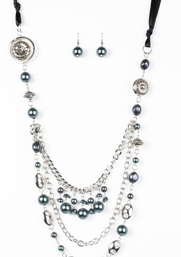 Paparazzi All The Trimmings Black Blockbuster Necklace -  Paparazzi Accessories Necklace set - Paparazzi Accessories