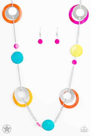 Kaleidoscopically Captivating Multicolored Blockbuster Necklace -  Paparazzi Accessories Necklace set - Paparazzi Accessories