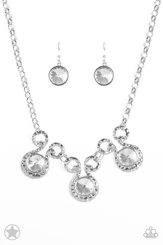 Hypnotized Silver Rhinestone Blockbuster Necklace -  Paparazzi Accessories Necklace set - Paparazzi Accessories