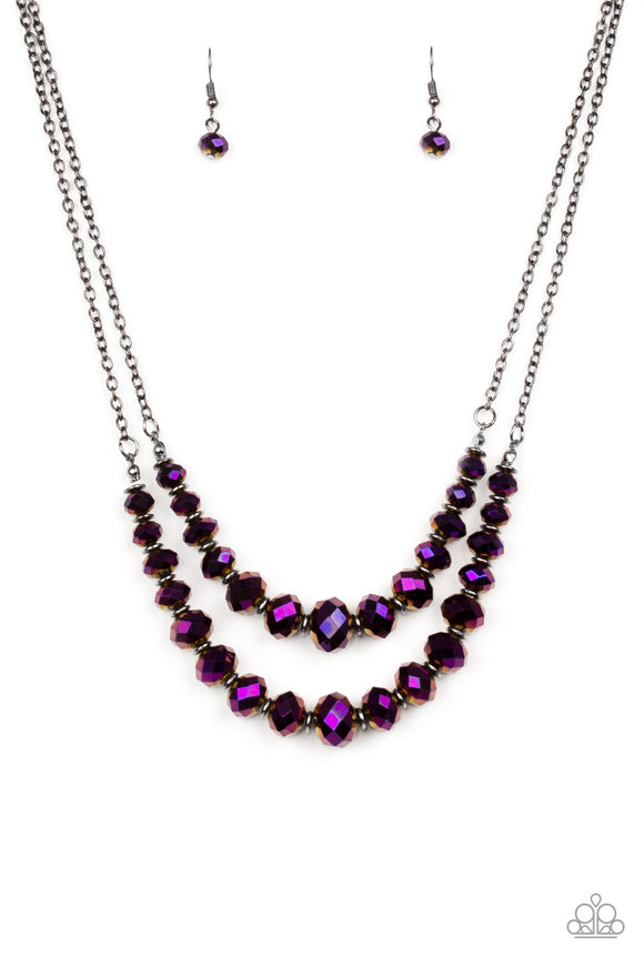 Strikingly Spellbinding Purple Iridescent Necklace - Paparazzi Accessories Necklace set - Paparazzi Accessories