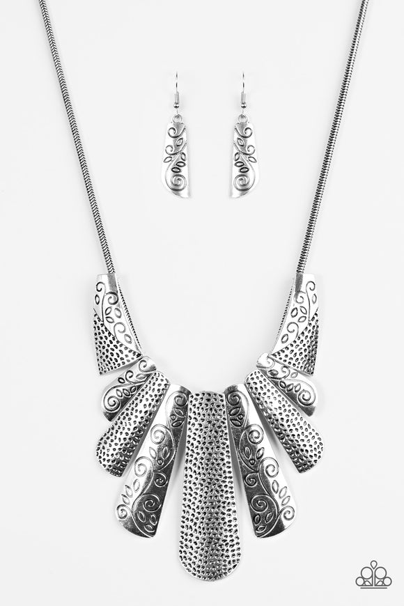 Untamed Silver Blockbuster Necklace - Paparazzi Accessories Necklace set - Paparazzi Accessories