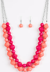 Rio Rhythm Pink and Coral Beaded Necklace - Paparazzi Jewelry Necklaces Necklace set - Paparazzi Accessories
