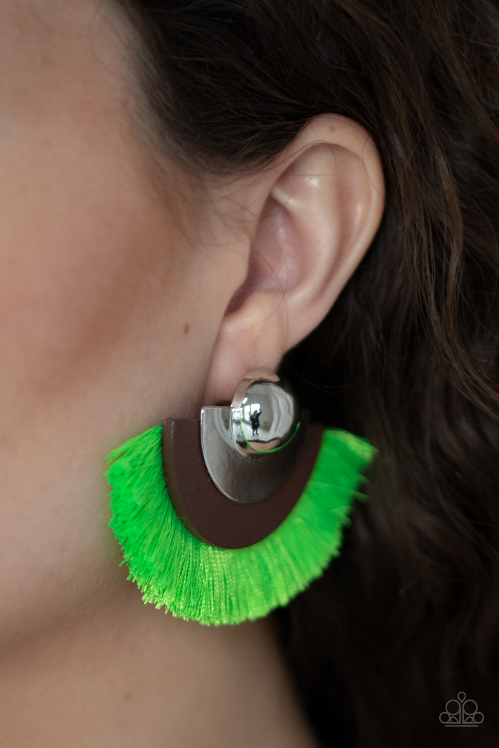 Fan The Flamboyance Green Paparazzi Earrings - JewelTonez Jewelry